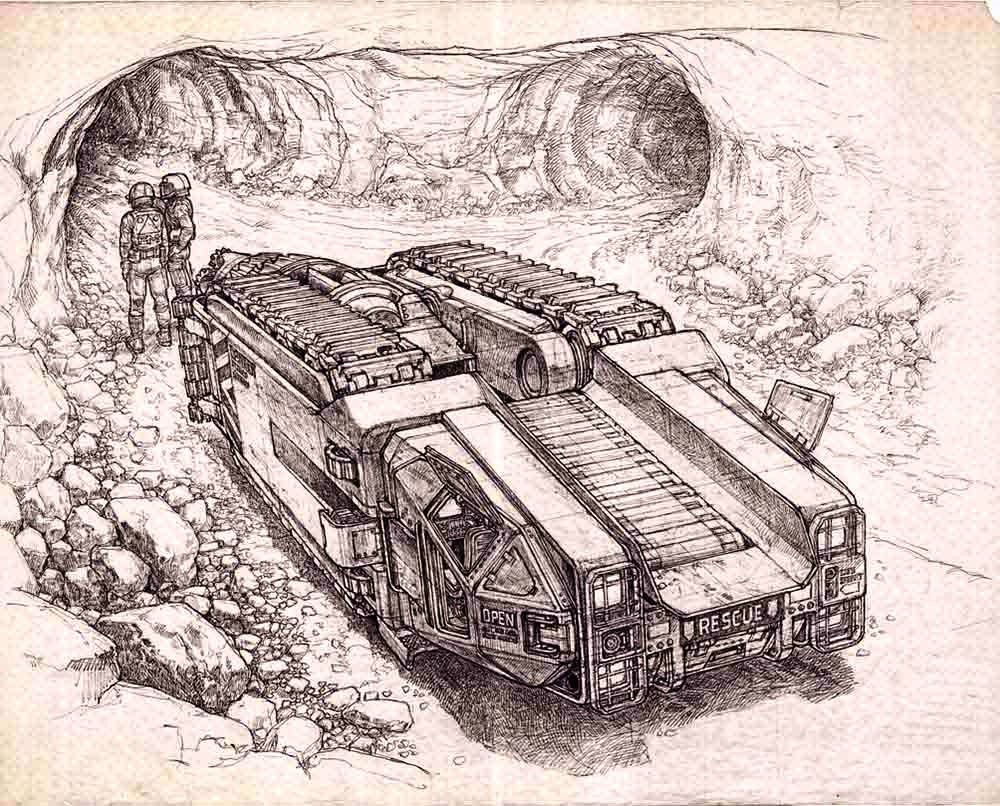 Martian tunnel mole concept for Total Recall (1990) movie by Ron Cobb.