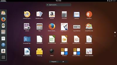 Akhirnya Ubuntu 17.10 Daily update menggunakan GNOME sebagai tampilan Default