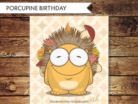 Children's Porcupine Birthday Invitations