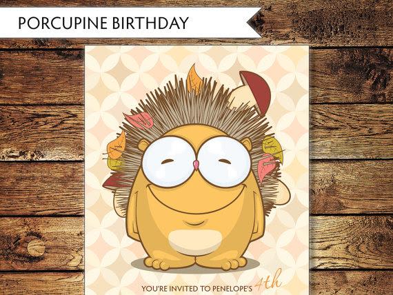 Children's Porcupine Birthday Invitations
