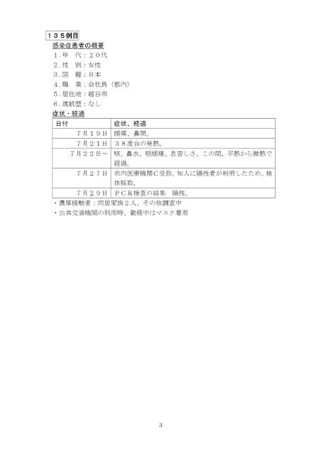 新型コロナウイルス感染症患者の発生について(7月29日発表)