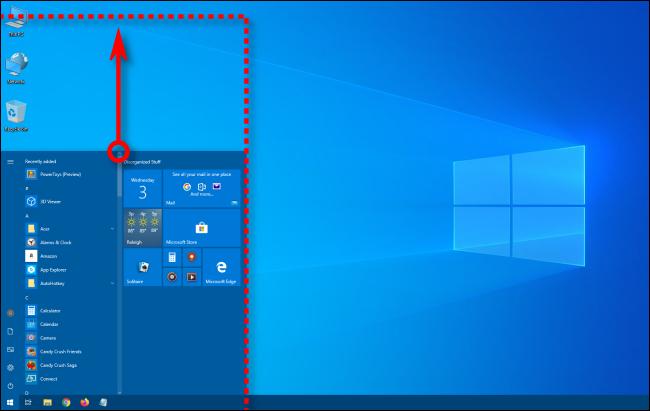 تغيير حجم قائمة ابدأ في نظام التشغيل Windows 10 عموديًا