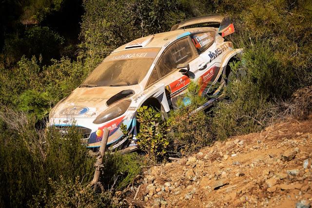 Gus Greensmiths crashed ford fiesta wrc car in Turkey