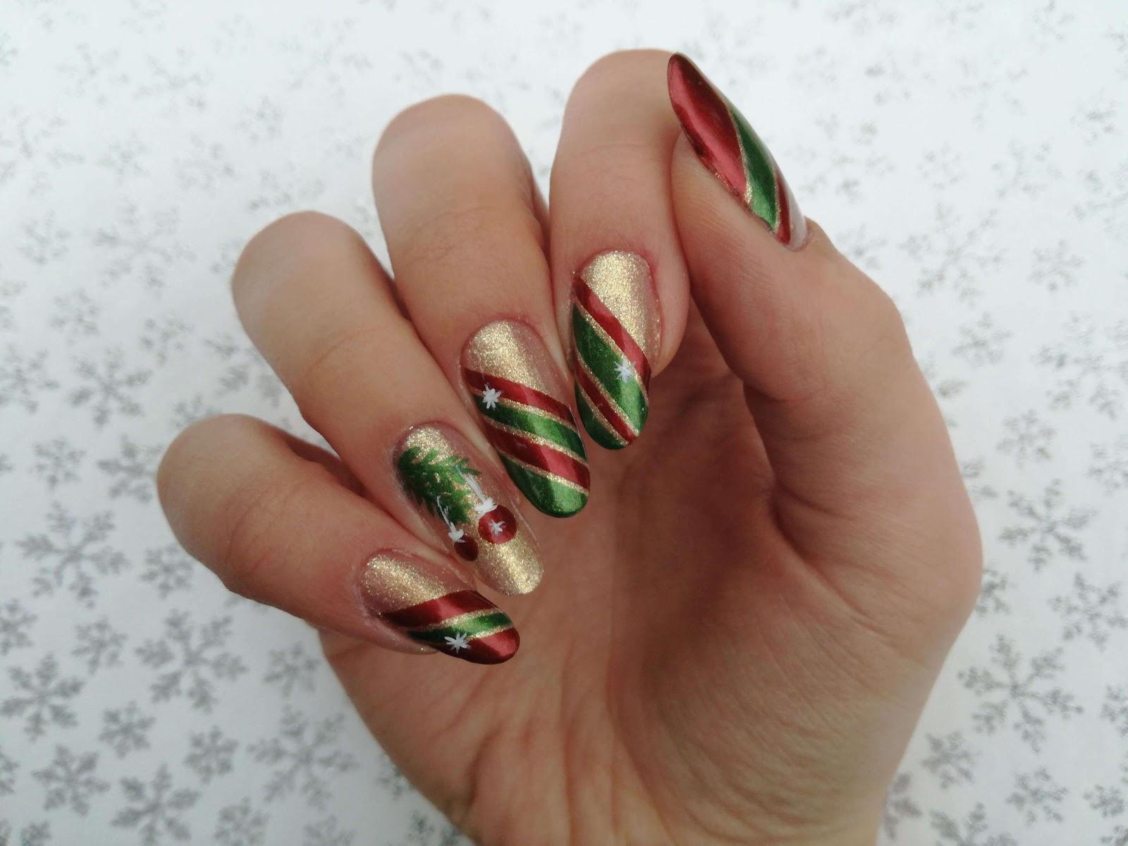 paznokcie na Boże Narodzenie