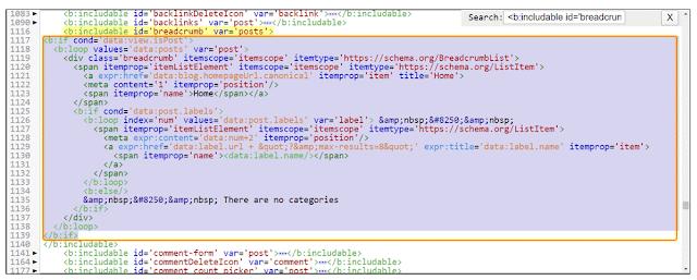 Blogger Breadcrumb Error HTML Add