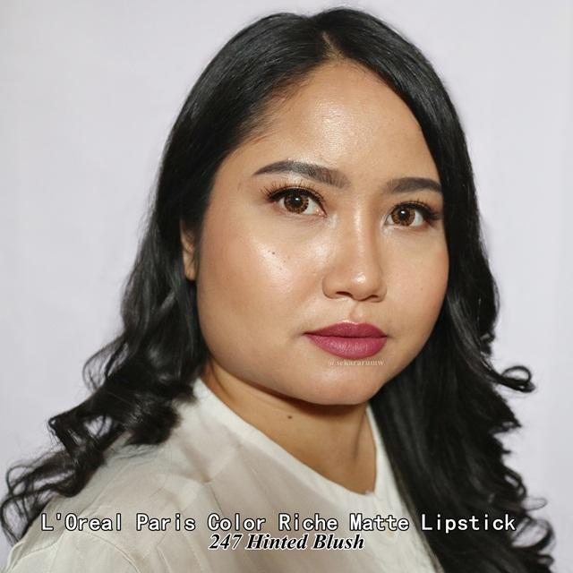 Lip Swatch L'oreal Matte Lipstick Hinted Blush