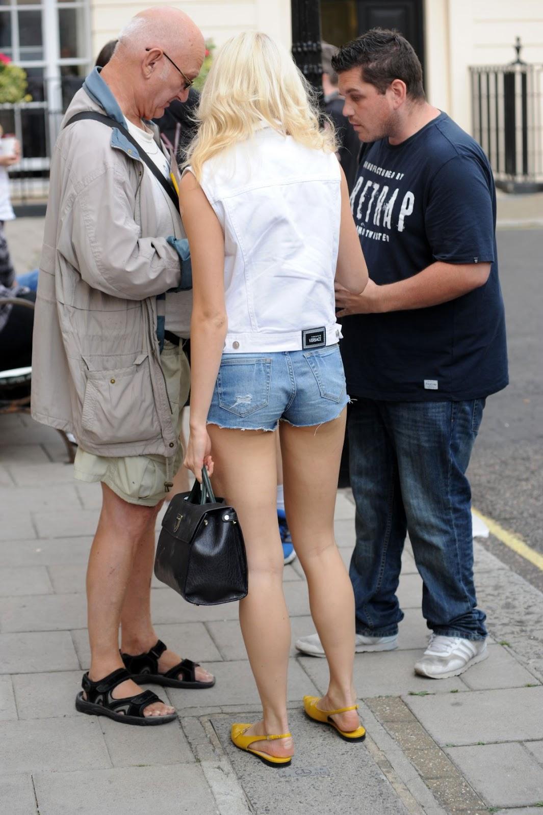 Pixie Lott in Jeans Shorts out in London