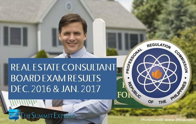 December 2016, January 2017 Real Estate Consultant board exam results