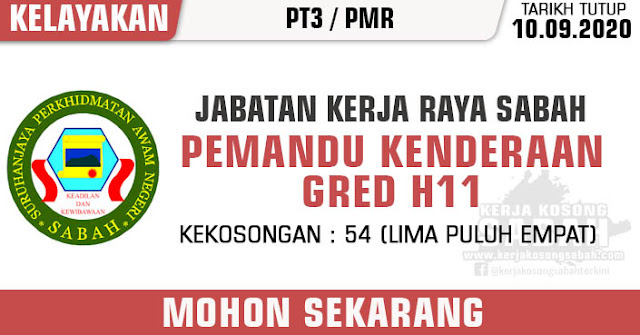 Jawatan Kosong Kerajaan Negeri Sabah 2020 | Pemandu Kenderaan, Gred H11 - Jabatan Kerja Raya Sabah