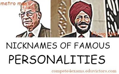 NICKNAMES OF FAMOUS PERSONALITIES (#generalawareness)(#compete4exams)(#eduvictors)