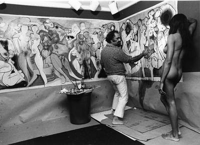 Avinash Chandra painting nude in New York
