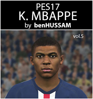 PES 2017 Faces Kylian Mbappe by BenHussam