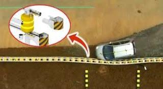 rolling barrier system akan menyerap energi tumbukan sehingga kendaraan tidak akan terbalik dan kembali ke posisi  semula.