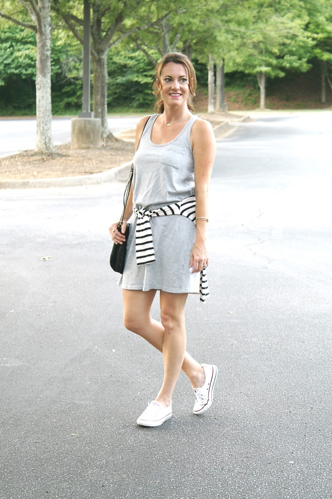 casual-outfit-with-sneakers. Gray Tank Dress  ... 41bcb6e46