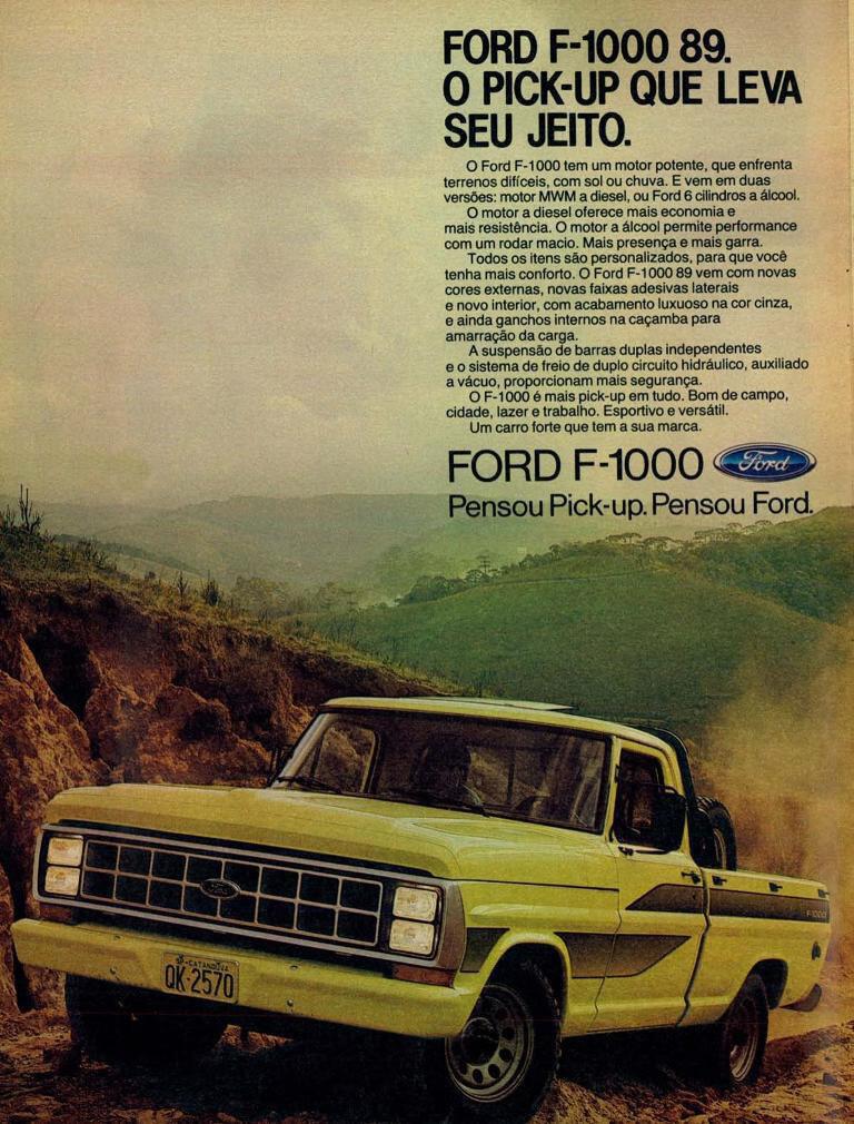 Propaganda antiga da Ford apresentando a pick-up F-1000 em 1989