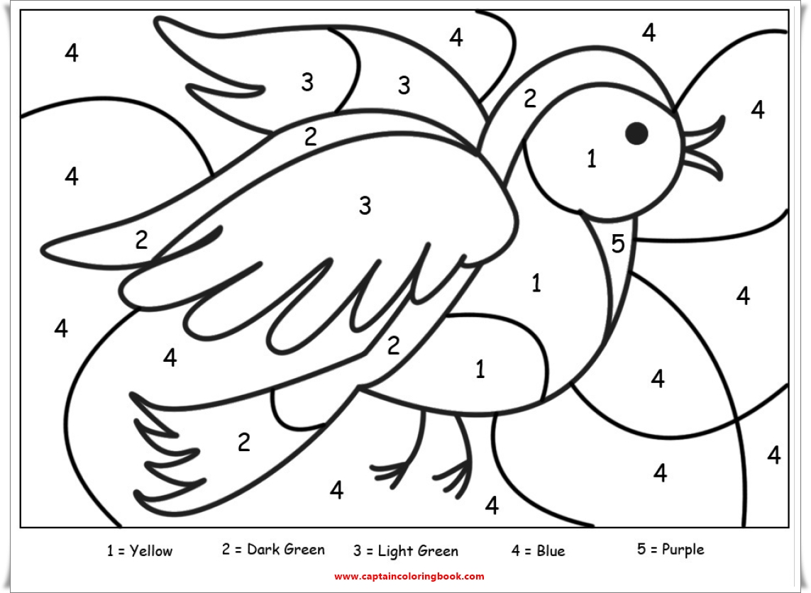 Coloring Page: Color By Number Animal-Free printable