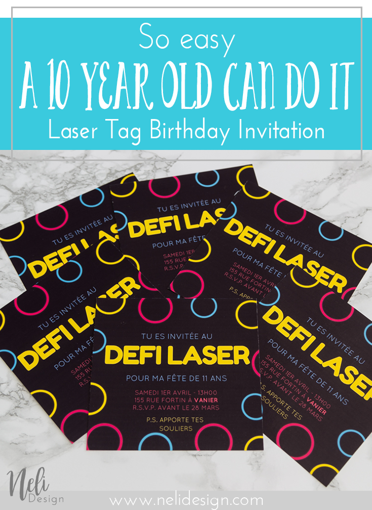 Laser Tag Party Invitation for girls Nelidesign