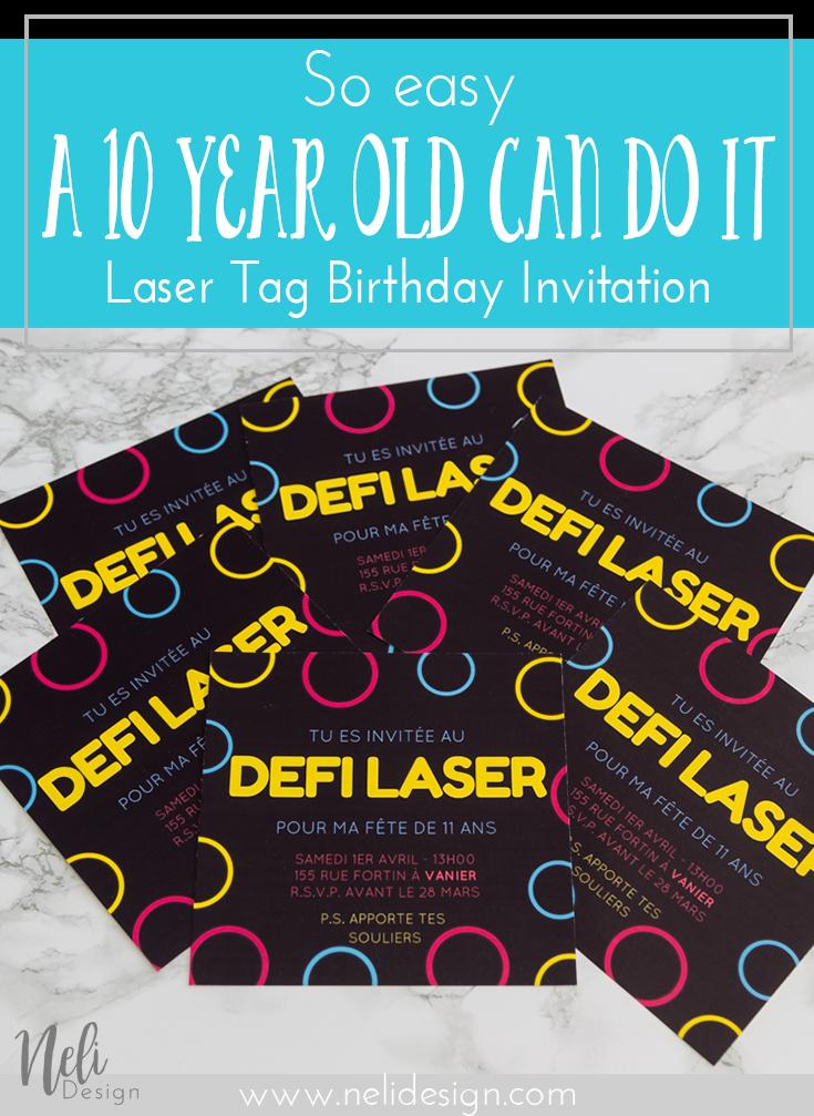 Laser Tag | Party invitation | Birthday | Easy | Homemade | DIY