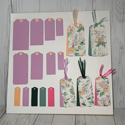 Display of tag sizes from the Stampin' Up! Tailor Made Tags Dies