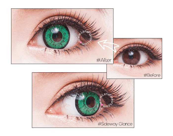 eos dolly eye green before after