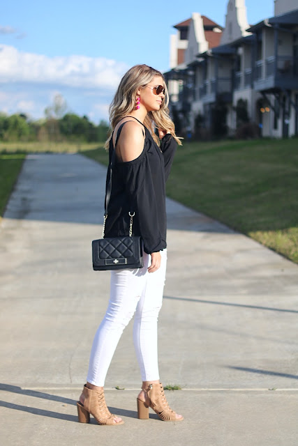 shein review cold shoulder top fashion blogger