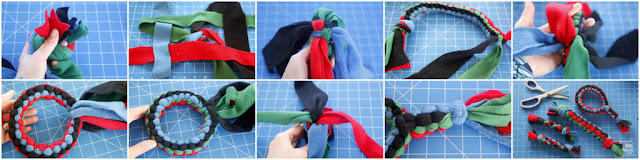 Step-by-step how to weave a loop shaped dog tug toy