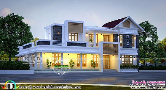 Mix roof home by Future Homes from Kollam