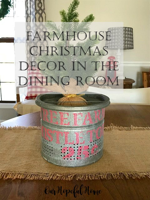 farmhouse Christmas decor dining room minnow bucket stencil