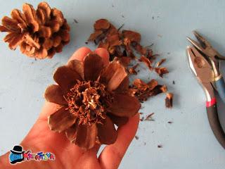 come realizzare un fiore con pigna