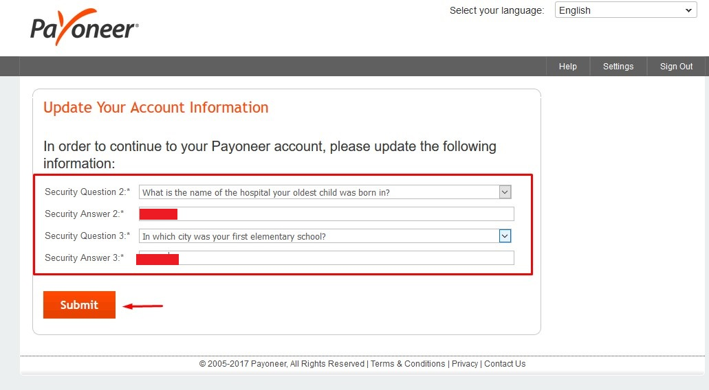 update Payoneer security question