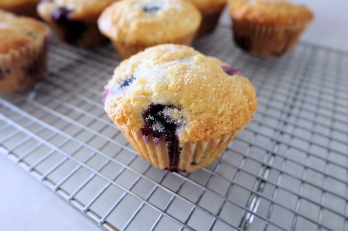 baked blueberry muffin on cooling rack