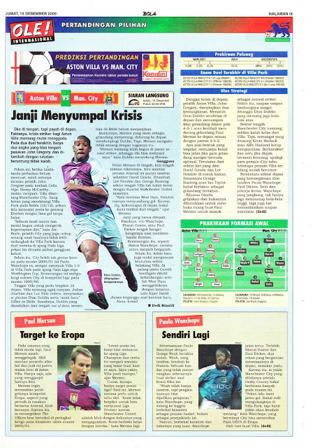 ASTON VILLA VS MAN. CITY JANJI MENYUMPAL KRISIS