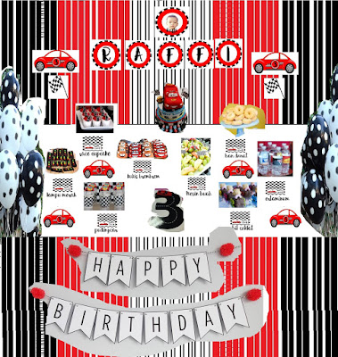 Ultah Raffi ke-3 : DIY Car Birthday Party