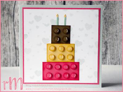 Stampin' Up! rosa Mädchen Kulmbach: Geburtstagskarte zum 2. Geburtstag mit Legosteinen und Perpetual Birthday Calendar