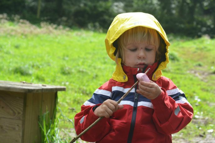 helly hansen, we love rain, forest school, toasting marshmallows