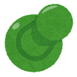 刺さった画鋲のイラスト(緑)