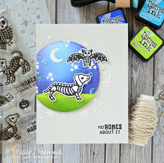 Halloween Skeletons Card by Tatiana Trafimovich | Spooky Skeletons Stamp set by Newton's Nook Designs #newtonsnook #handmade #halloween