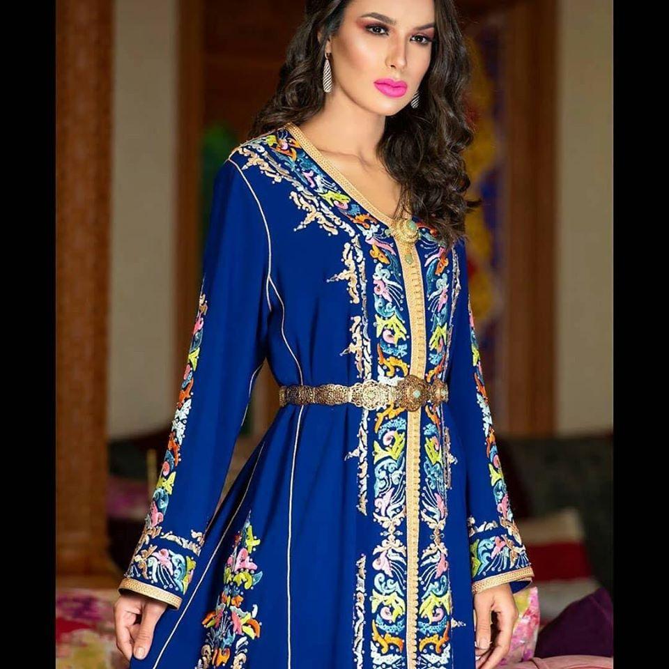 caftan bleu mariée haute couture paris