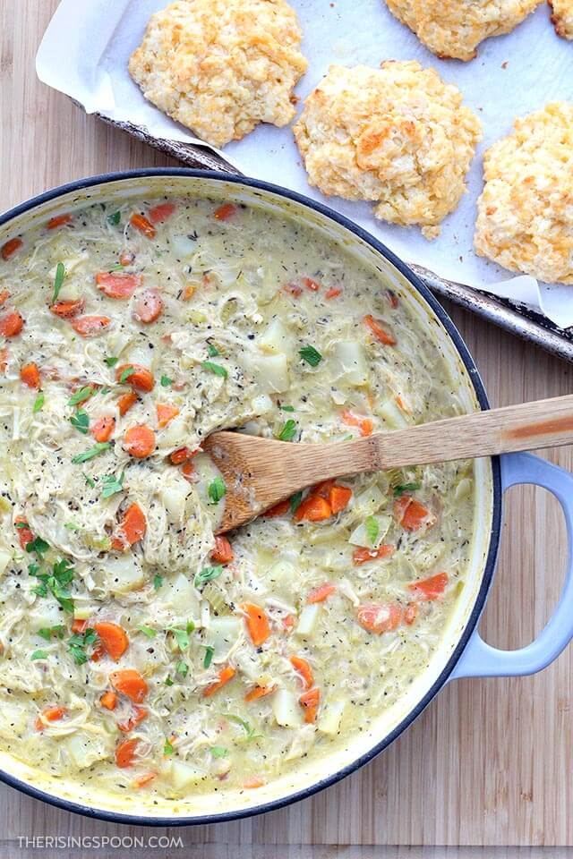 Skillet Chicken Pot Pie with Cheddar Garlic Drop Biscuits