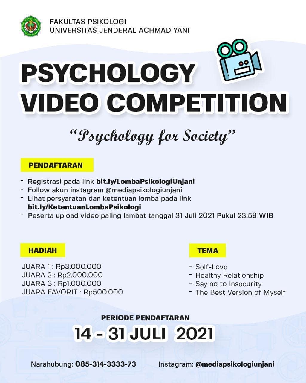 Lomba Video Kreatif Berhadiah Jutaan Rupiah oleh Fakultas Psikologi UNJANI