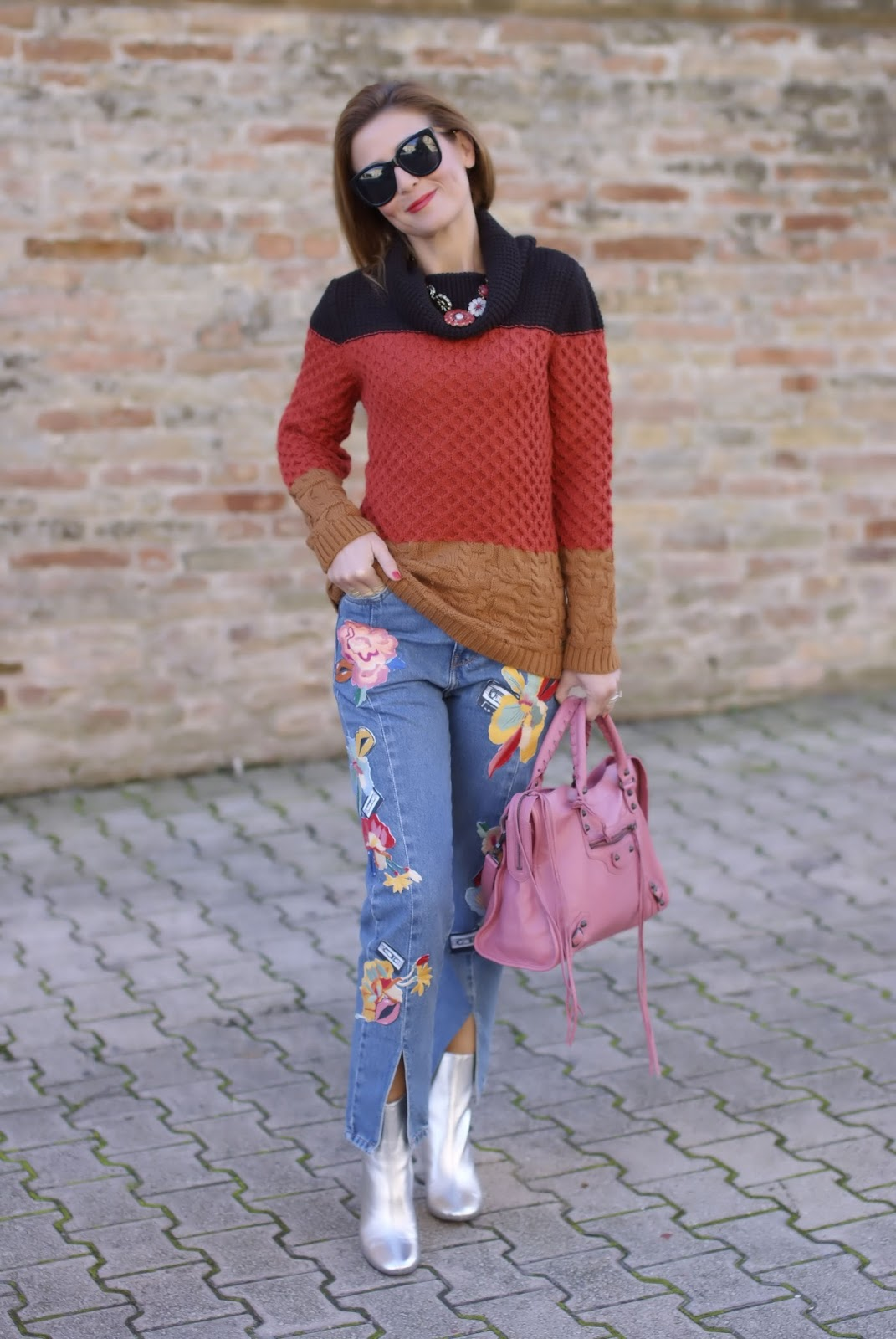 Winter Seventies Fashion with a cozy Smash! sweater and silver ankle boots on Fashion and Cookies fashion blog, fashion blogger style