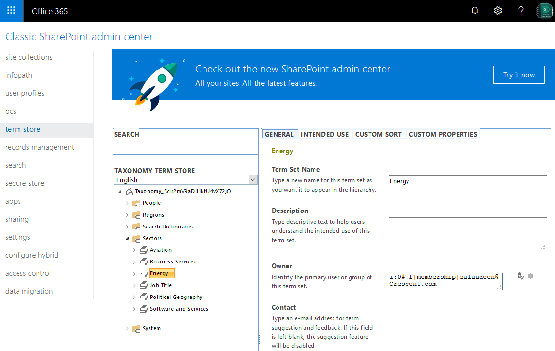 term set owner sharepoint online