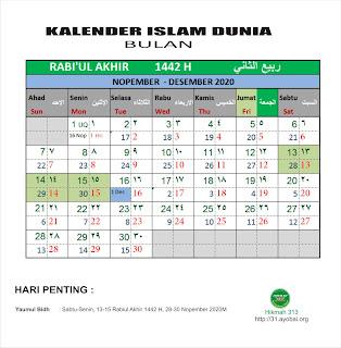 Kalender Islam Dunia Bersatu Bulan Rabiul Akhir 1442 H