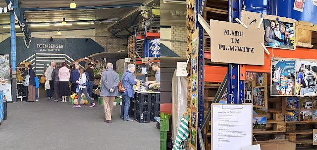 Menschen in einer Markthalle in Leipzig Plagwitz