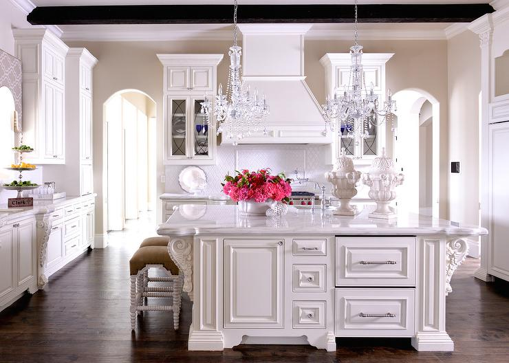 Chrome, marble, and, white cabinets and island kitchen inspiration | via monicawantsit.com