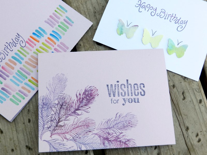 Birthday Cards Made with Watercolors and Stamps by Grow Creative