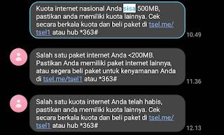Tanda Paket Internet Telkomsel Akan Habis
