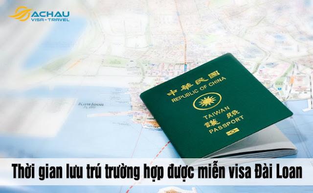 Thời gian lưu trú của visa Đài Loan cho trường hợp được miễn visa là bao lâu?