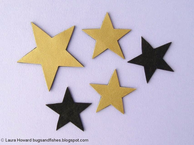 vegan leather star headband tutorial: glue the stars together