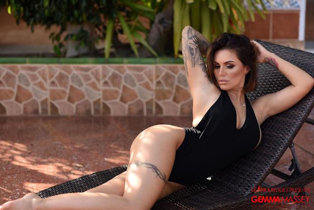 Gemma Massey sexy ass black bodysuit